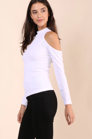 Suzette Mock Neck Cold Shoulder Top - White