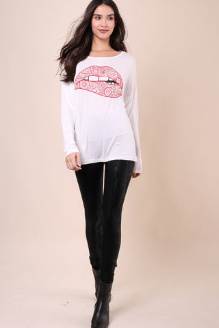 Jonathan Saint Lips Long Sleeve Tee
