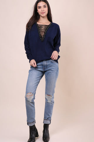 Gab Kate Lace Up Sweater