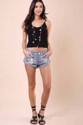 One Teaspoon Hendrixe Bandit Denim Cut Off Shorts
