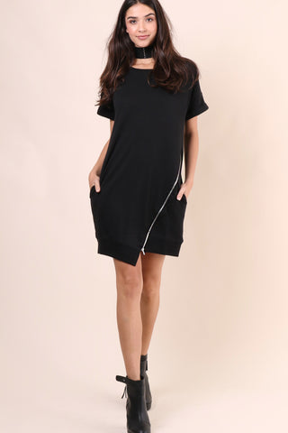 Brooklyn Karma Zip Up Sweatshirt Dress - Black