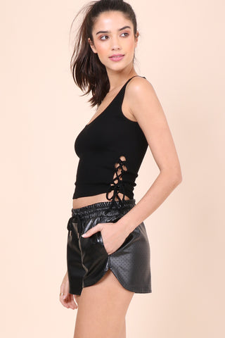 Suzette Lace Up Sides Crop Tank - Black