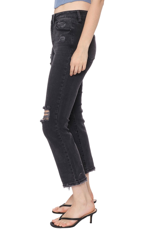 High Rise Distressed Straight Jean