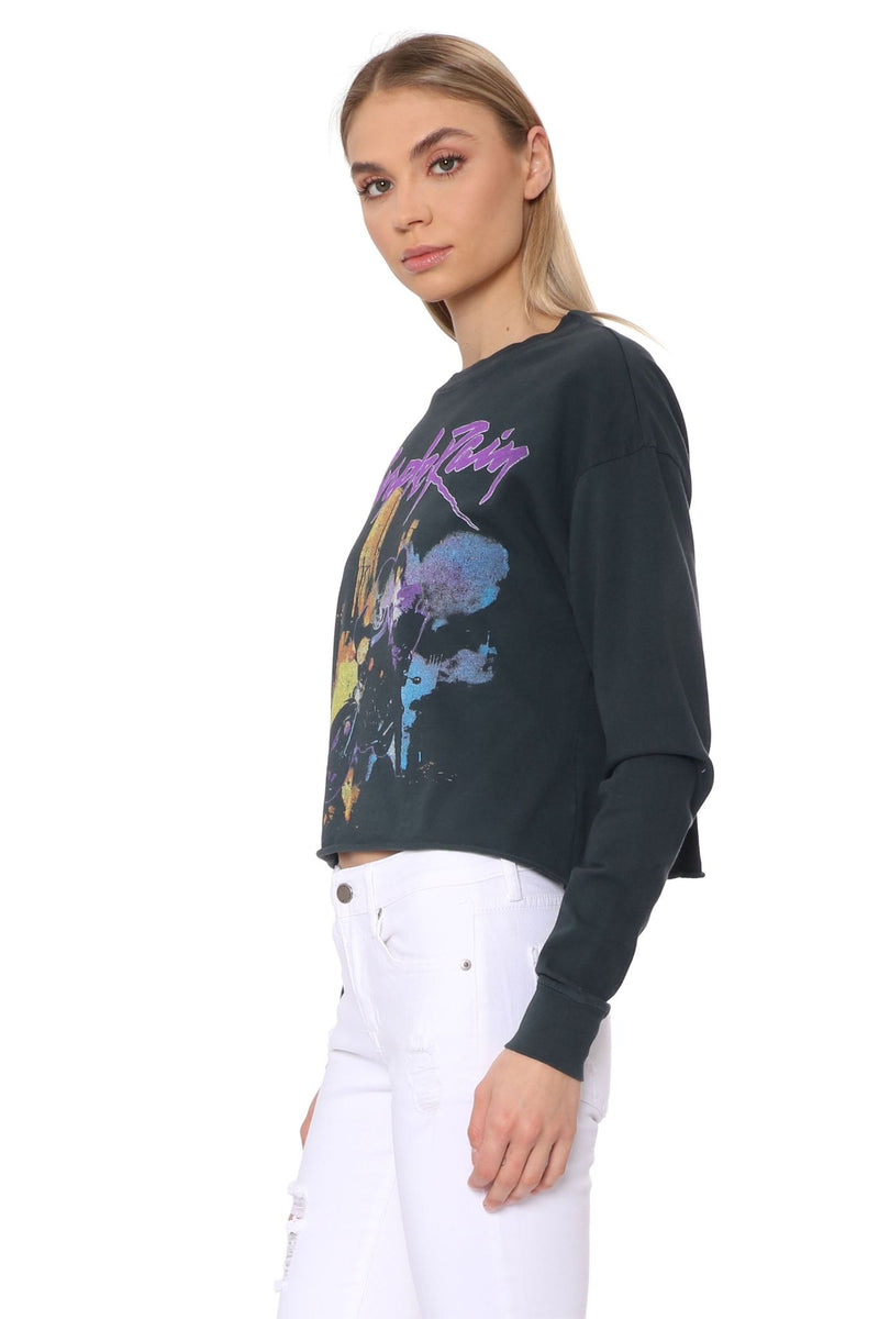 Prince Purple Rain Long Sleeve Crop Top