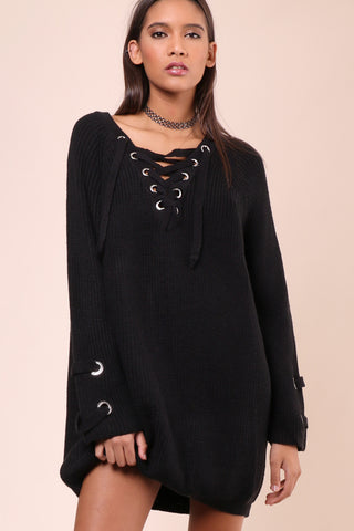 Brooklyn Karma Lace Up Sweater Dress