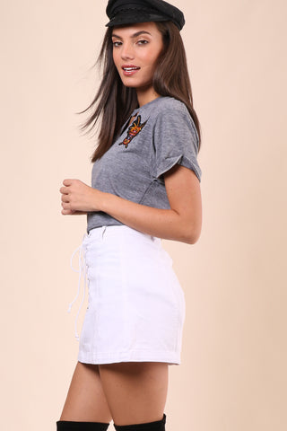 Jet X Mixology Moto Patch Tie Front Choker Tee