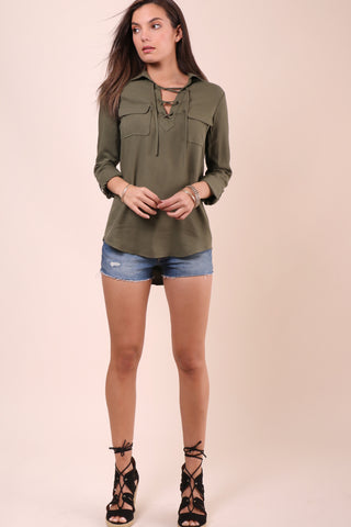 Jack Nutmeg Lace Up Top