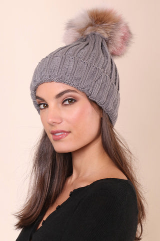 Jocelyn Knit Hat With Multi Pom - Grey