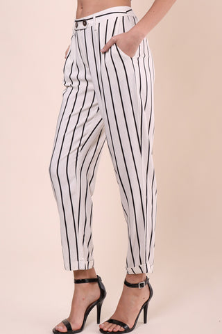 Willow & Clay Crepe Striped Pants