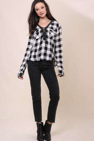 Brooklyn Karma Plaid Lace Up Top