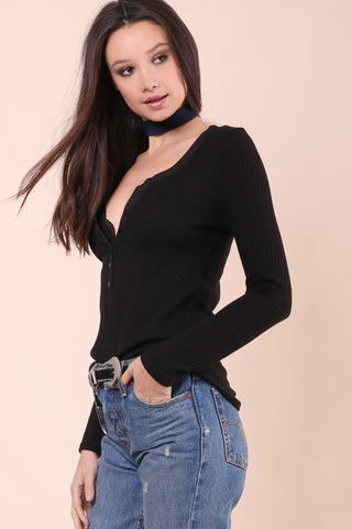 Gab & Kate Ribbed Button Henley - Black