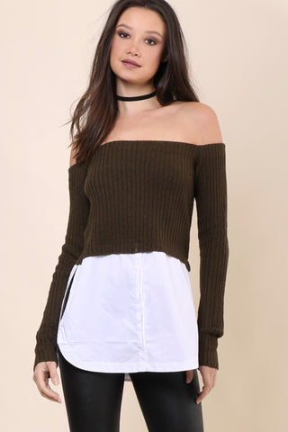 Sunday Stevens Layer Off the Shoulder Sweater