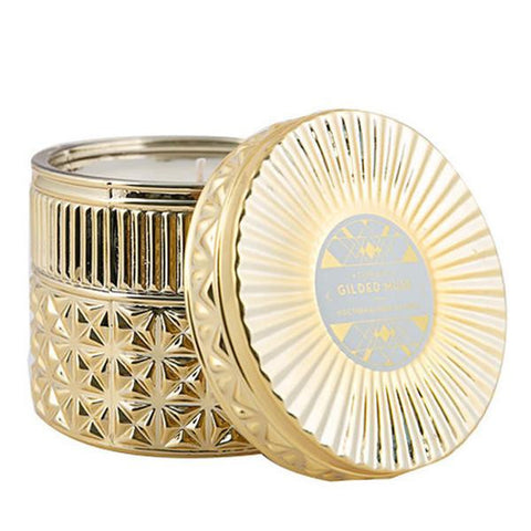 Gilded Muse Gold Faceted Jar Candle - Exotic Blossom & Basil