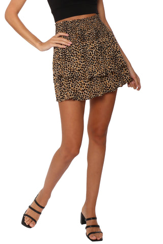 Gab & Kate Ruffled Leopard Mini Skirt