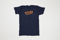 Poet Crew Neck Dark Blue Base with Orange Text
