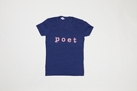 Poet Crew Neck Dark Blue Base with Pink Text