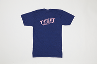 Poet V Neck Dark Blue Base with Pink Text