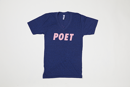 Poet V Neck - Pink Text on Dark Blue Base