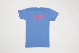 Poet V Neck - Pink Text on Light Blue Base