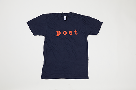 Poet Crew Neck - Red Text on Neck Dark Blue Base
