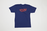 Poet V Neck - Red Text on Dark Blue Base