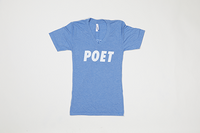 Poet V Neck - White Text on Light Blue Base