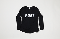 Poet Long Sleeve Scoop Neck - White Text on Black Base