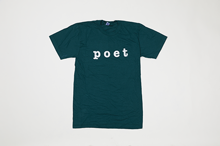 Poet Crew Neck - White Text on Dark Green Base