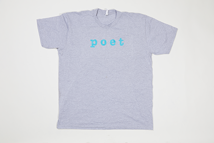 Poet Crew Neck - Blue Text on Light Grey Base