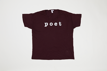 Poet Crew Neck - White Text on Maroon Base
