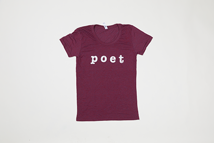 Poet Scoop Neck - White Text on Maroon Base
