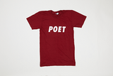 Poet Crew Neck maroon Base with White text Caps