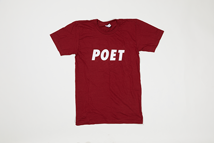 Poet Crew Neck - White Text (ALL CAPS) on Maroon Base