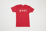 Poet Crew Neck Red Base with White Text