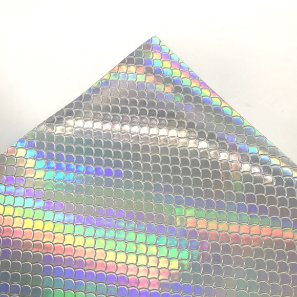 Holographic Mermaid Scale Luxury Leatherette Sheet