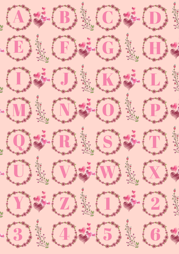 Floral Initials on Pink