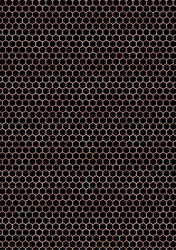 Rose Gold and Black Honeycomb
