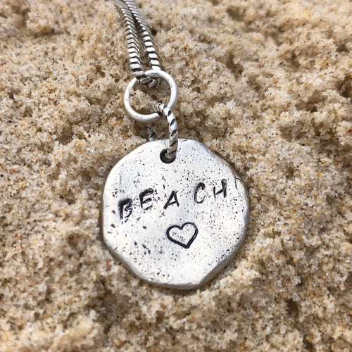 Hand Stamped Pebble Necklace