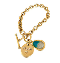 Load image into Gallery viewer, Moments Charm Bracelet made with sand and ashes memorial jewellery beach jewelry gold