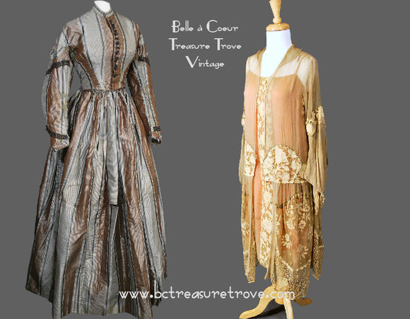 Antique Clothing - Victorian, Belle Epoque, Edwardian, Gatsby/ Flapper, and Depression Era (1850s - 1930s)