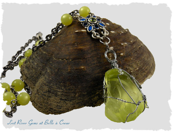 Lemon Yellow Wire Wrapped Sea Glass Pendant OOAK Handmade Artisan Necklace