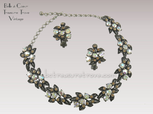 Florenza Necklace & Earrings Demi Parure Gunmetal Rhinestones