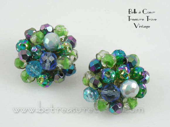 Alice Caviness Blue Green Beaded Cluster Clip Earrings Vintage