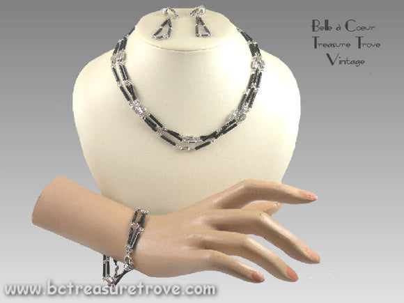 Emmons Black & Silver Parure 11155a