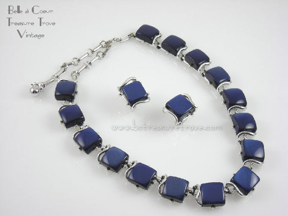 Coro Blue Lucite Squares Vintage Necklace & Earrings Demi 1950s
