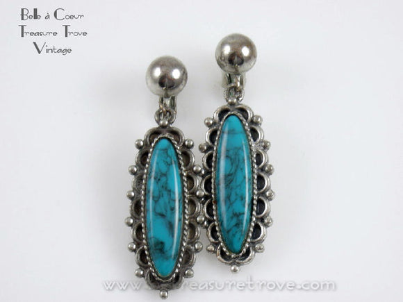 Vintage Sancrest Faux Turquoise Earrings