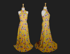 40s Cold Rayon Backless Maxi Dress