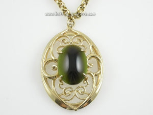 Whiting & Davis Signed Pendant Necklace - Olive Green Cabochon on Goldtone