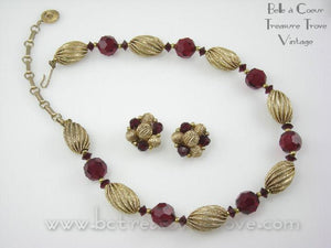 Vintage Lisner Choker Necklace & Earrings Set Garnet Red and Goldtone