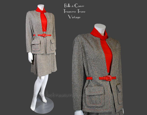1970s Vintage 2 pc Ladies' Suit Tweed & Red Knit
